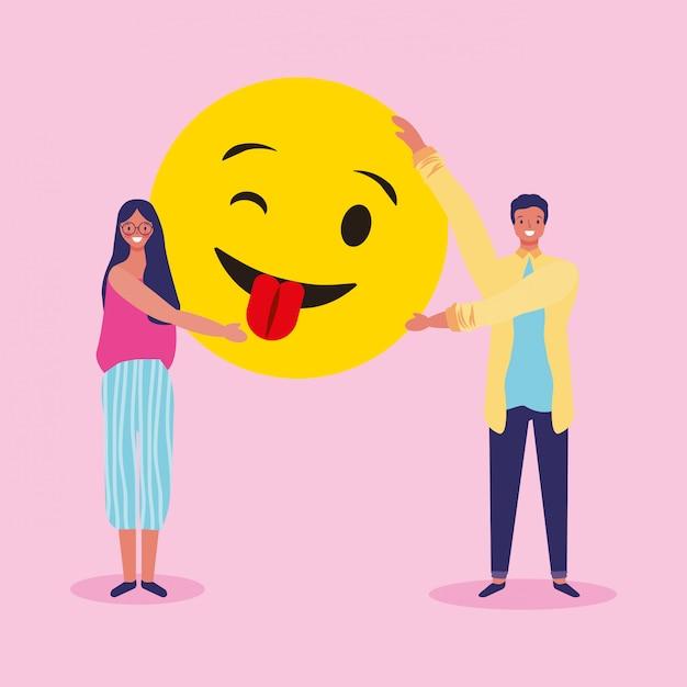 Pessoas e emojis Vetor Premium