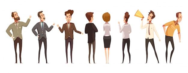 Pessoas e ícones de reunião on-line definir ilustração em vetor isoladas dos desenhos animados Vetor grátis