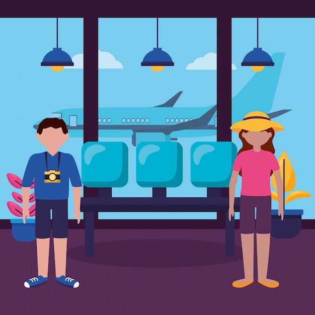 Pessoas e viagens design plano Vetor grátis