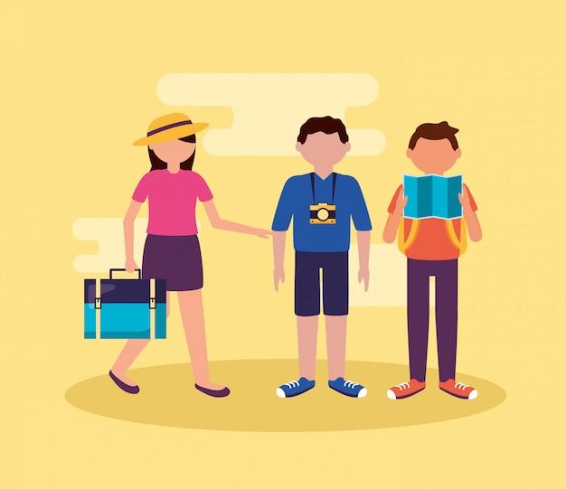 Pessoas e viajar em estilo simples Vetor grátis