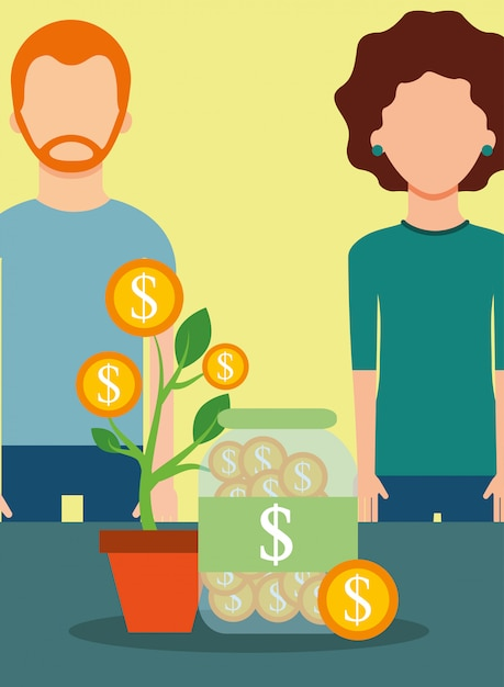 Pessoas economizando dinheiro Vetor Premium