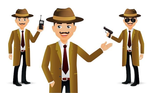 Pessoas elegantes. professional.detective Vetor Premium
