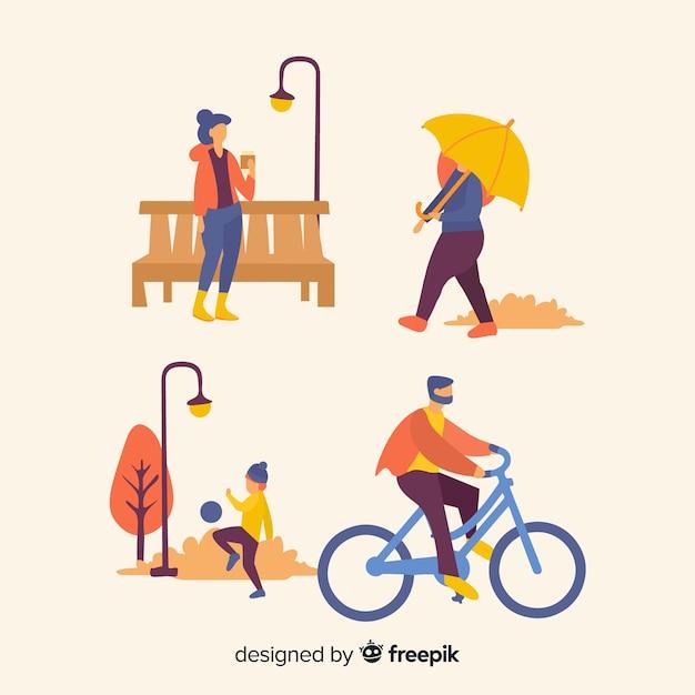 Pessoas, em, a, outono, parque Vetor grátis