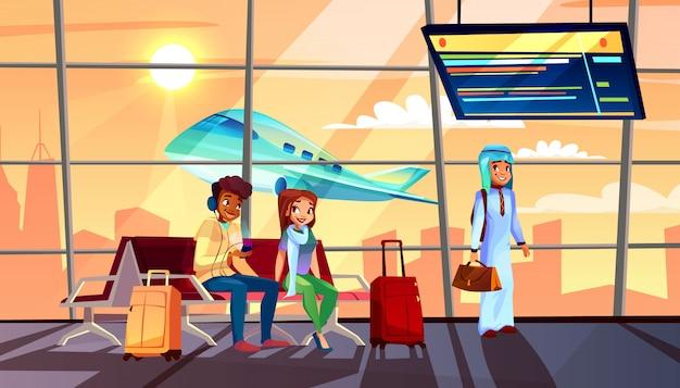 Pessoas, em, aeroporto, ilustração, de, partida, ou, chegada terminal, vôo, cronograma, e, avião Vetor grátis