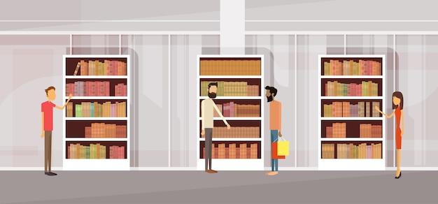 Pessoas, em, biblioteca, book book, interior, bookself Vetor Premium