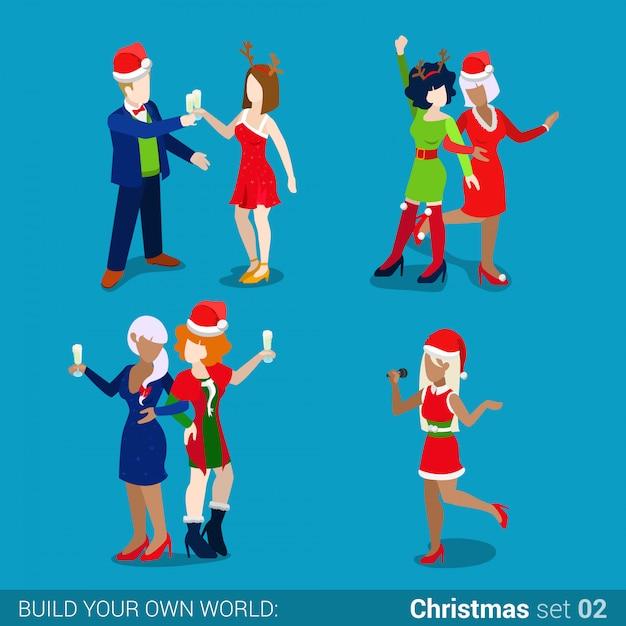 Pessoas em chapéus de papai noel na ilustração isométrica do vetor da festa natalícia de ano novo de natal. Vetor grátis