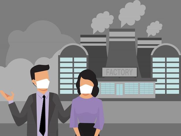 Pessoas em máscaras fábrica poluição poluentes. poluição industrial da fumaça do ar e pessoas urbanas. moradores da cidade em máscaras de proteção médica Vetor Premium