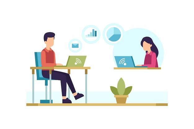Pessoas em mesas com laptops Vetor grátis