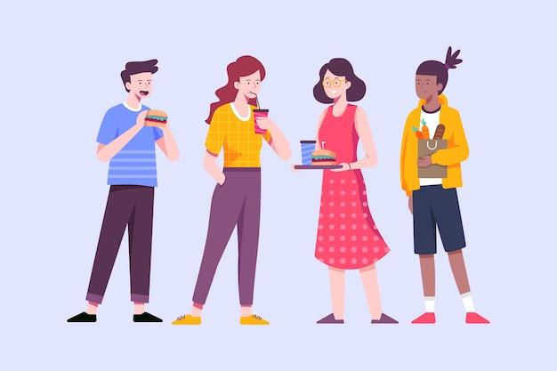 Pessoas em pé e comendo fast-food Vetor grátis