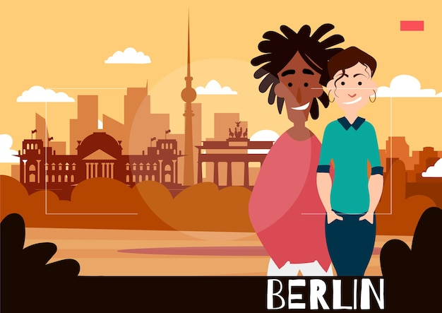 Pessoas em pé são fotografadas contra o pano de fundo de berlim. ilustração de viagens no estilo da fotografia. Vetor Premium