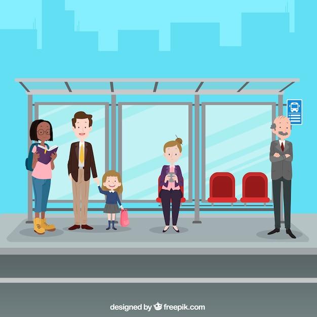 Pessoas esperando o ônibus com design plano Vetor grátis