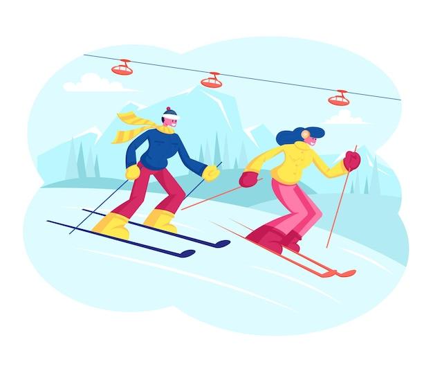 Pessoas esquiando. esquiadores de homem e mulher atravessam o país na temporada de inverno. ilustração plana dos desenhos animados Vetor Premium