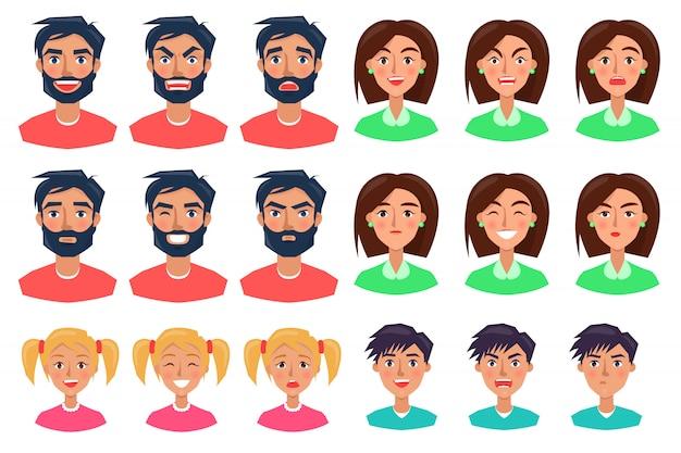 Pessoas expressando emoções conjunto de ícones em branco Vetor Premium