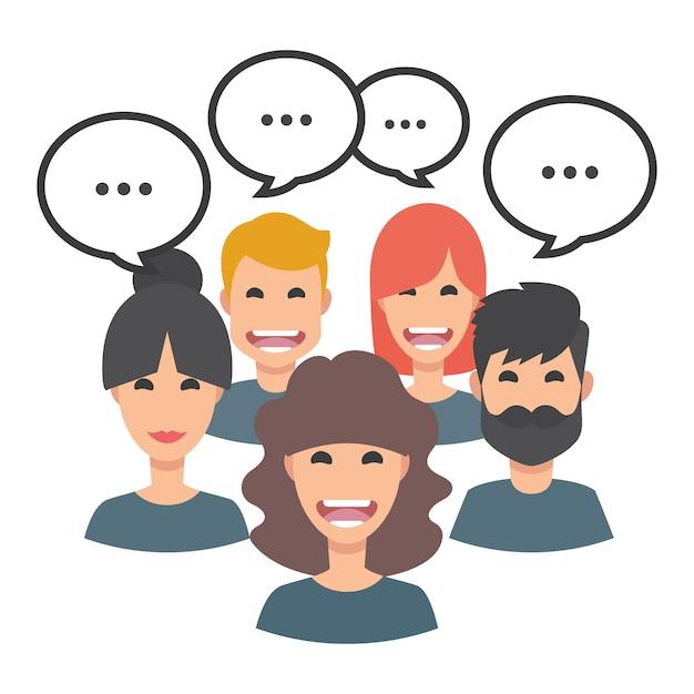 Pessoas, falando, avatar, cobrança Vetor grátis