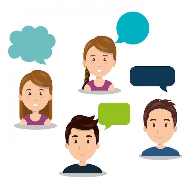 Pessoas falando de comunicação do discurso Vetor Premium