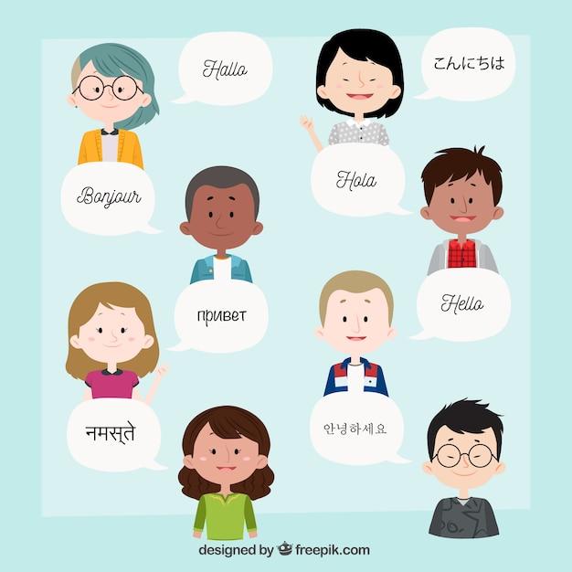 Pessoas falando em diferentes idiomas Vetor grátis
