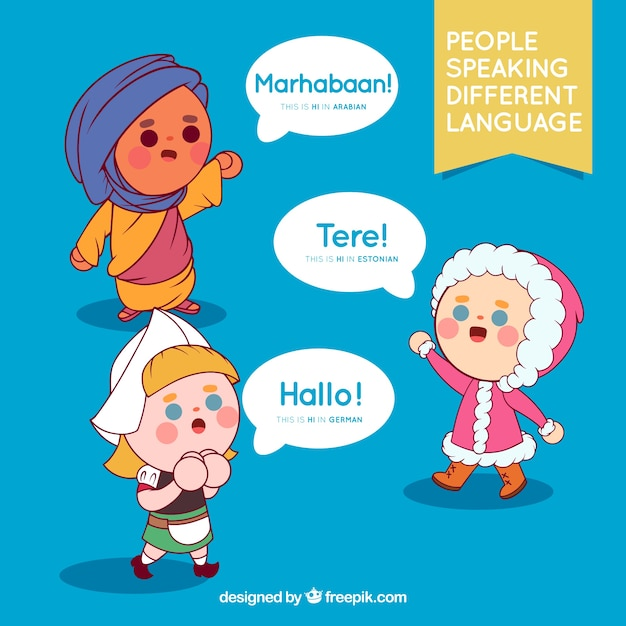 Pessoas falando idiomas diferentes Vetor grátis
