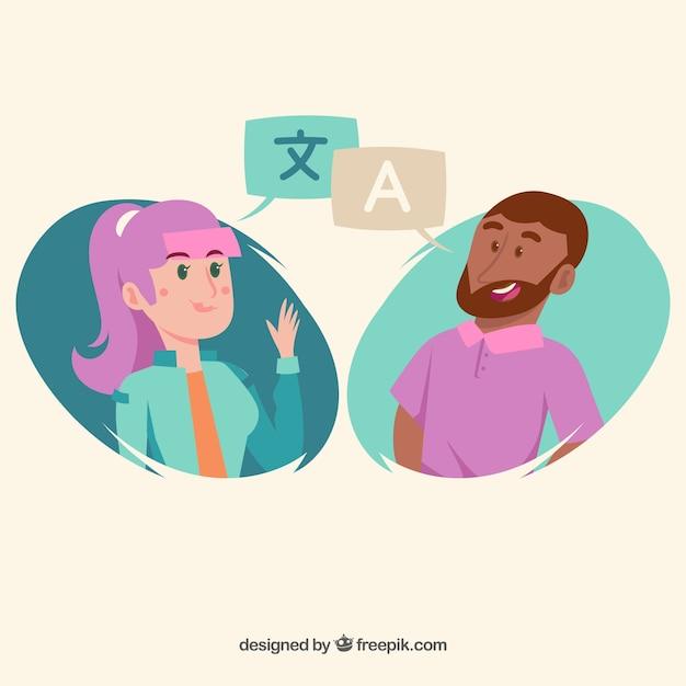 Pessoas falando línguas diferentes com design plano Vetor grátis