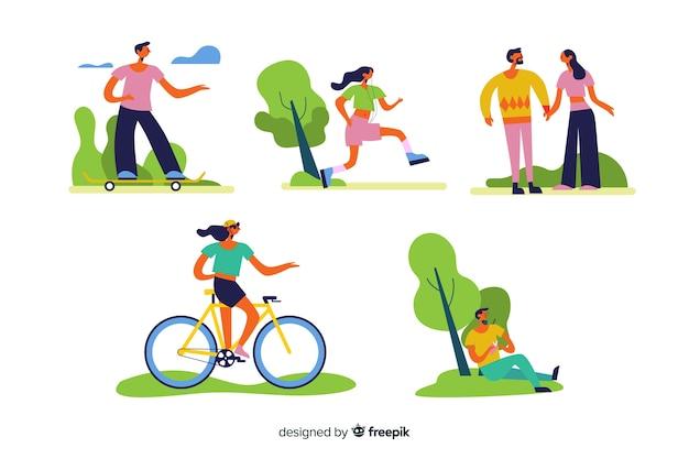 Pessoas, fazendo, ao ar livre, atividades, cobrança Vetor grátis