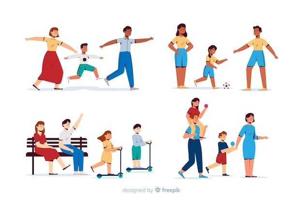 Pessoas, fazendo, ao ar livre, atividades Vetor grátis