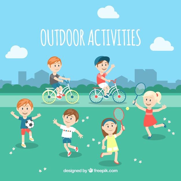 Pessoas fazendo atividades ao ar livre com design plano Vetor grátis