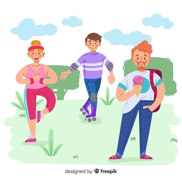 Pessoas, fazendo, atividades ao ar livre, fundo Vetor grátis