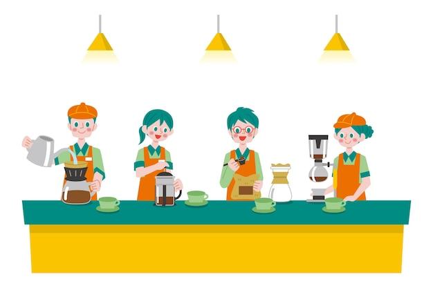 Pessoas fazendo coleta de diferentes métodos de café Vetor grátis