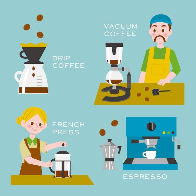 Pessoas fazendo diferentes métodos de café Vetor grátis