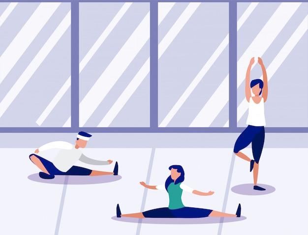 Pessoas fazendo exercícios em casa Vetor Premium