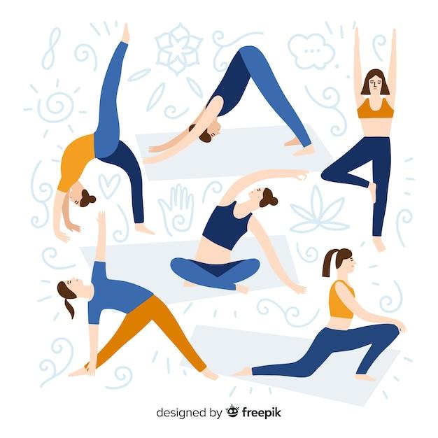 Pessoas, fazendo, ioga, cobrança Vetor grátis