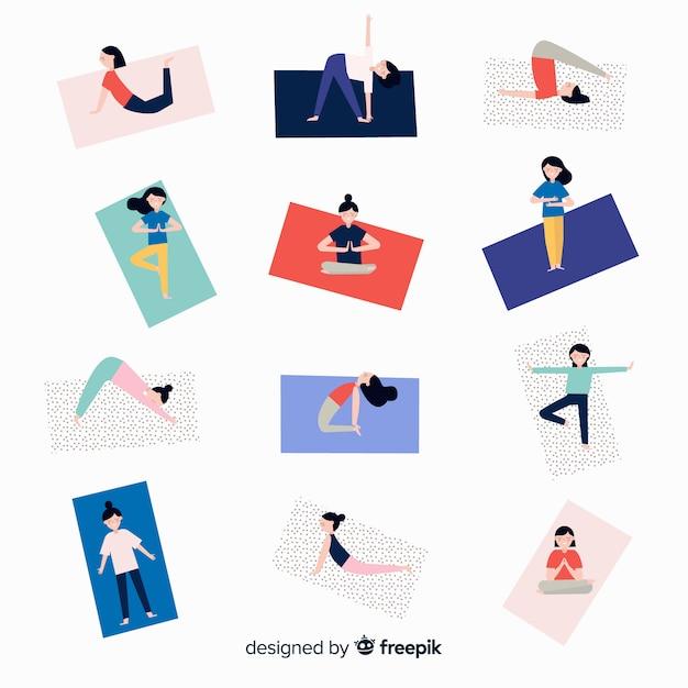 Pessoas, fazendo, ioga Vetor grátis