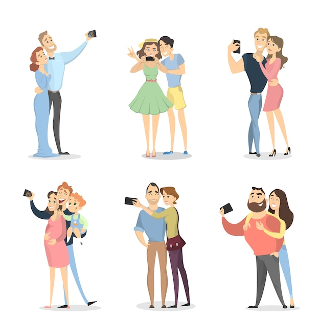 Pessoas fazendo selfie. casais com smartphones em branco. Vetor Premium