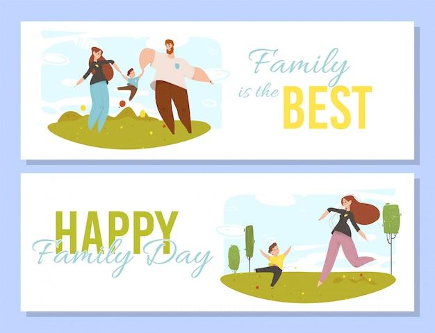 Pessoas felizes com crianças ao ar livre atividade família Vetor Premium