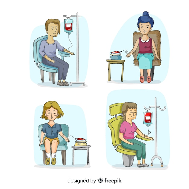 Pessoas felizes doando sangue Vetor grátis
