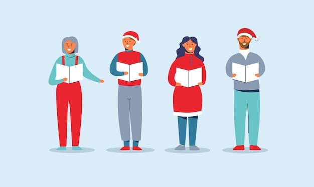 Pessoas felizes em chapéus de papai noel cantando canções de natal. personagens de férias de inverno. xmas cantores caroling choir homem e mulher. Vetor Premium