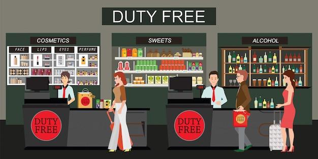 Pessoas felizes em pé no balcão na loja duty-free isolado no branco Vetor Premium