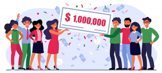 Pessoas felizes, ganhando prêmio em dinheiro Vetor grátis