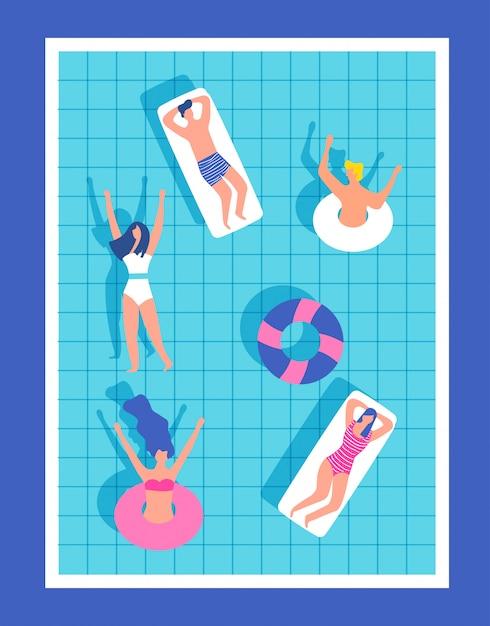 Pessoas felizes na piscina se divertindo Vetor Premium