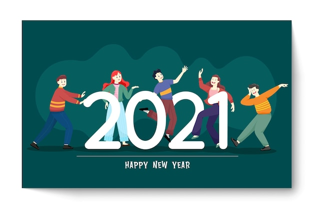 Pessoas felizes ou funcionários de escritório, funcionários marcam grande número 2021. grupo de amigos ou equipe deseja feliz natal e feliz ano novo Vetor grátis