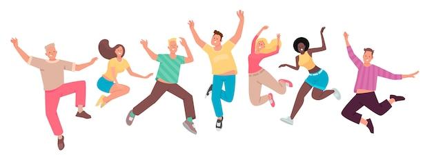 Pessoas felizes pulam. um conjunto de personagens engraçados. juventude. o conceito de felicidade, alegria e sucesso Vetor Premium