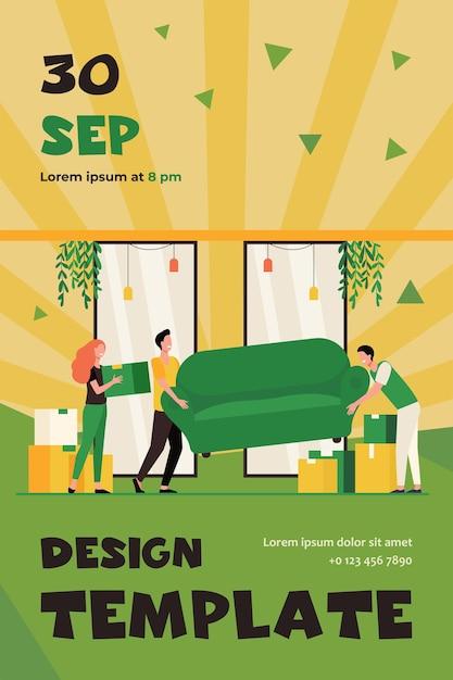 Pessoas felizes se mudando para uma nova casa. personagens de desenhos animados carregando caixas de papelão e sofás dentro de casa. modelo de folheto Vetor grátis