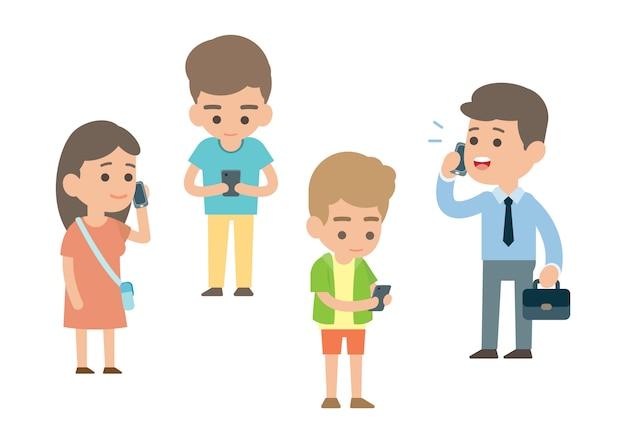 Pessoas felizes usando smartphone Vetor Premium