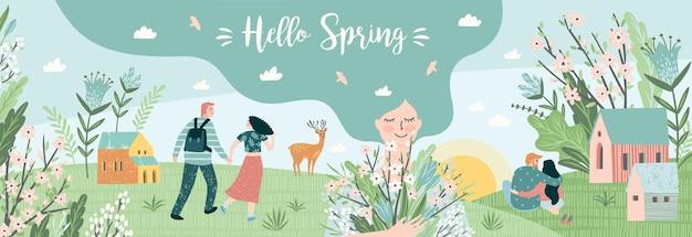 Pessoas fofas e a natureza da primavera. Vetor Premium