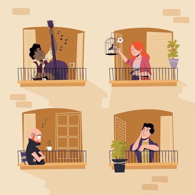 Pessoas gastando tempo com sua coleção de janelas Vetor grátis