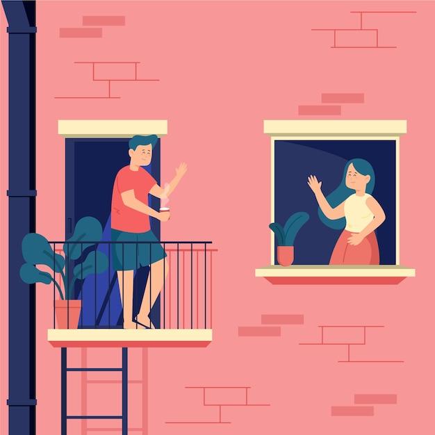 Pessoas gastando tempo em suas janelas definidas Vetor grátis