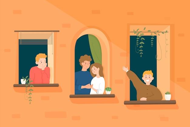 Pessoas gastando tempo em suas janelas Vetor grátis