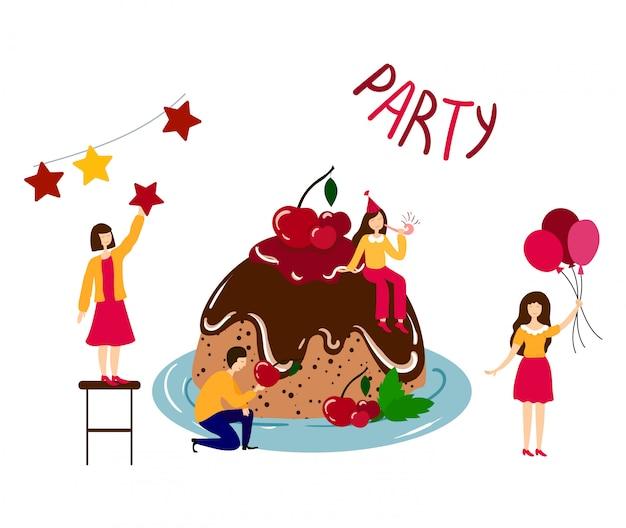 Pessoas - homens, mulheres - cozinhar, decorar bolo de aniversário Vetor Premium
