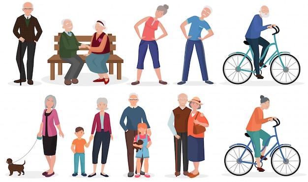 Pessoas idosas em diferentes atividades definidas Vetor Premium