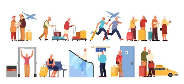 Pessoas idosas no aeroporto et. ideia de viagens e turismo. homem idoso no scanner, chegada de avião. passageiro com bagagem. Vetor Premium