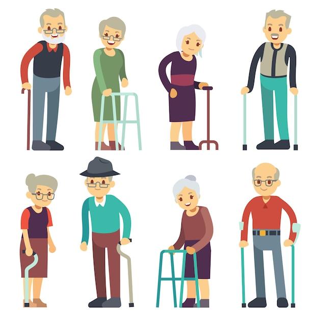 Pessoas idosas personagens de desenhos animados vetor definido. coleção de casais de homem e mulher sênior. senior pessoas avó e avô pensionista ilustração Vetor Premium